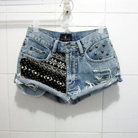 Vintage High Waist Aztec Printed Studded Shorts