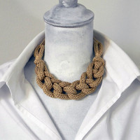 Ecru adjustable knitted cotton yarn chain necklace, neutral colors. Yarn jewelry