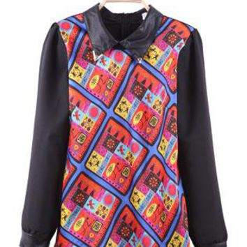 Red Skull Metal Tips Collar Tribal Blouse S139