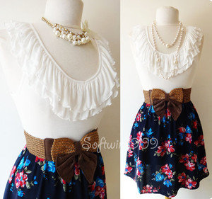 NEW Ivory/Navy Blue Ruffle Knit Top Contrast Floral Print Woven Skirt BOHO Dress