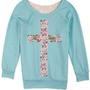 Floral Cross Crochet Sweatshirt