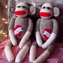 Sock Monkey Doll His and Hers Valentines Day Set by MonkeyBizz