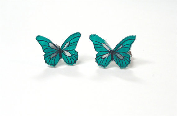 Teal Butterfly Earrings by nnvillan on Etsy
