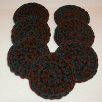Hunter Green &amp; Burgundy Red Crochet Scrubbies/Scrubbers - Set of 7