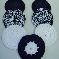 Crochet Scrubbies - Handmade Set of 7 - Black &amp; White Colors
