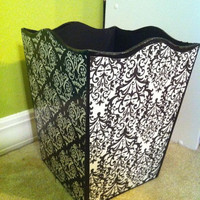 Girls trashcan in black and white by kissedwithcreativity on Etsy