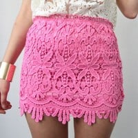 PINK FLORAL SCALLOPED HEM CROCHETED LACE HIGH WAISTED MINI TUBE SKIRT 8 10 12