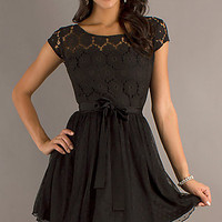 Little Black Cap Sleeve Lace Dress
