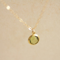 Peridot round crystal gem gold filled necklace - dainty jewelry by AmiesAmies