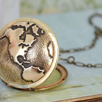TRAVEL THE WORLD vintage brass locket necklace with world map globe