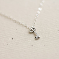 Tiny sterling silver key necklace - simple dainty jewelry by AmiesAmies