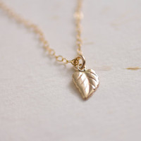 Gold filled leaf necklace - simple small charm - everyday jewelry by AmiesAmies