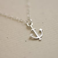Sterling silver anchor necklace - nautical - simple dainty jewelry by AmiesAmies