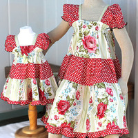 Matching Sister Easter Dresses Peasant Style Spring Fashion Children&#x27;s Clothes Red Rose Girls Dress Size 5 6 7 or 8 100% Cotton