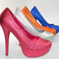 Platform Stiletto Pumps Glitter Sparkle High Heels