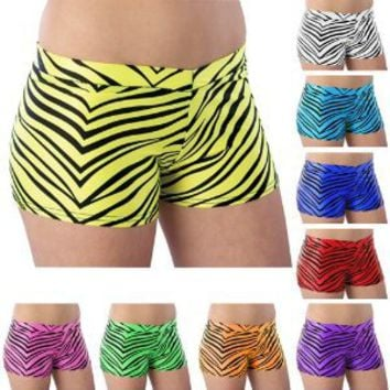 Pizzazz Multi Color Zebra Nylon Spandex Girls Short 2-16
