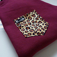 Patchwork Apparel  Leopard Pocket Crew Neck Unisex