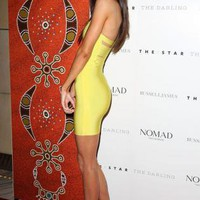 Lime Green Bandage Dress with Slash Back Detail