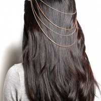 belle noel - snake cable chain hair piece (gold) - Belle Noel | 80&#x27;s Purple
