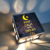 Keep Calm And Dream On Moon Print - Repurposed Vintage Dictionary Print Design Night Light