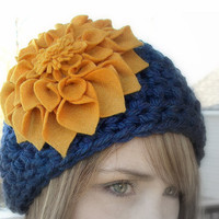 Cobalt Blue and Mustard Yellow Crochet by LoveDesignsBoutique