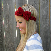 Crimson Red Bow Headband With Natur.. on Luulla