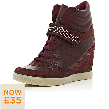 Red diamante strap wedge high tops