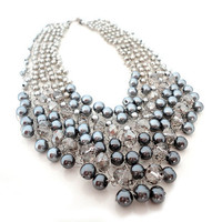 V Neck Grey Pearls and Crystals Necklace by IremOzerdemDesigns