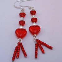 Red and Sterling Earrings