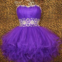 PURPLE SHORT PROM COCKTAIL PARTY PAGEANT FORMAL MARDI GRAS GOWN DRESS M 8/10