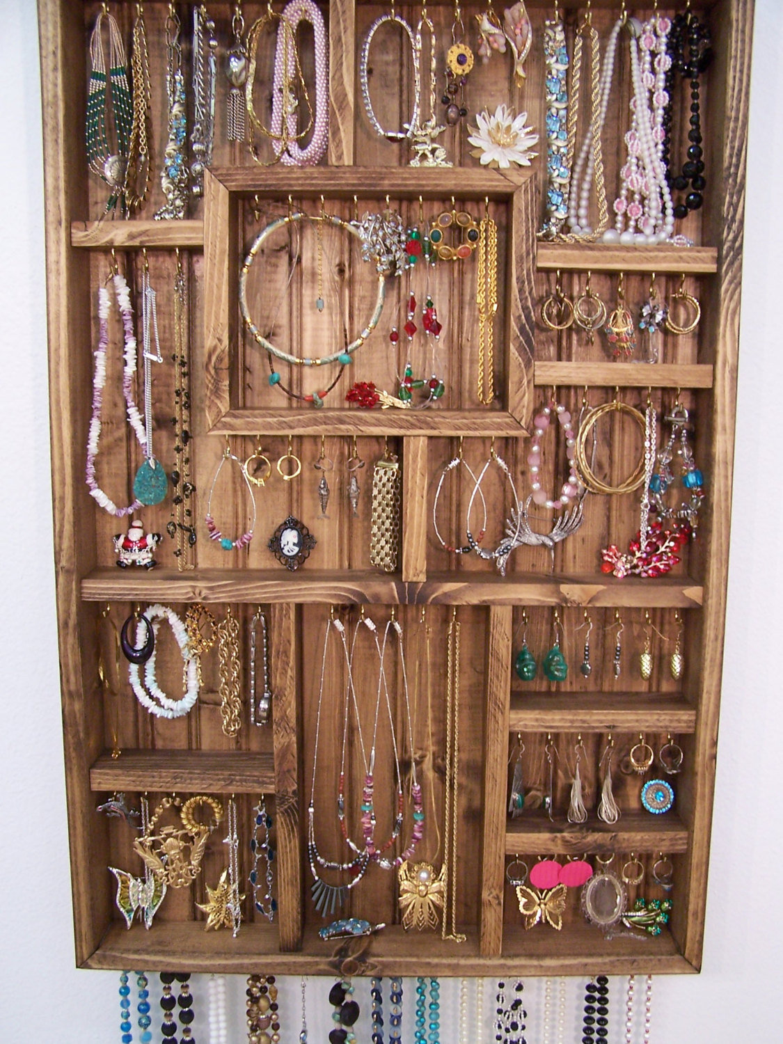 Jewelry display case handmade wood wall from for Jewelry displays