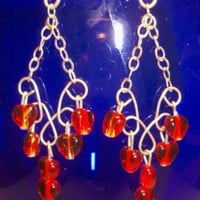 Red Hearts Chandelier Earrings.