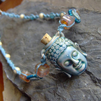 Hemp Necklace w/ Buddha Bottle Vessel Pendant by KnottyandNiceHemp