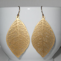 Delightful in Gold Earrings - Gold Dangle Leaves - Perfect Gift - morganprather