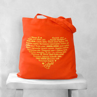 LOVE Languages Tote Bag  Yellow on Tangerine  by BucktoothedBunny