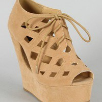 Bessie-10 Cutting Edge Lace Platform Wedge