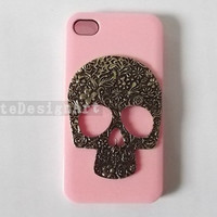 iphone 4s case, handmade iphone 4 cases iphone cover skin bling bling iphone 5 case - flowers skull iphone 4 cases