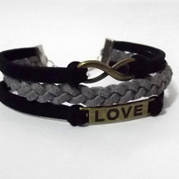 infinity bracelet, love bracelet, infinity charm and love charm, men&#x27;s women&#x27;s leather bracelets, braided bracelets