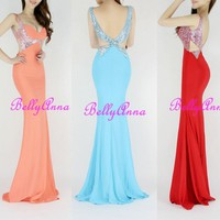 Sexy Luxury Sparkle Sequins Backless V Neck Mermaid Ballgown Prom Cocktail Dress