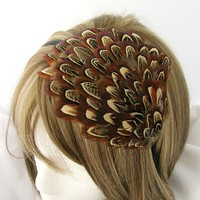 PROMO Feather fascinator headband - Amber brown almond patterned  - Choose headband, comb, elastic band, or hair clip