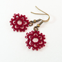 Modern oxblood earrings / small deep red lace earrings