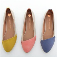 BN Effortless Stylish Comfy Pointed Toe Ballet Flats Loafers Pink Yellow Blue
