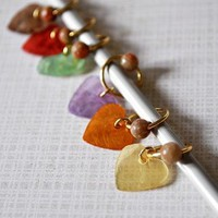 Colorful Stitch Markers Hearts Beaded Six by ariamy on Zibbet