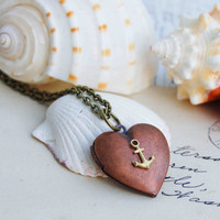 Sailor&#x27;s VALENTINE Locket Necklace Nautical by redtruckdesigns