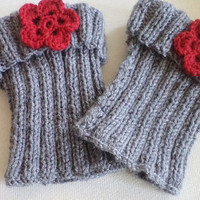 Knit Boot Cuff, leg warmers, hand knit grey boot cuffs red flowers. Warmer, Women accessories.