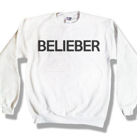 Belieber 026 Justin Bieber White Sweatshirt x by TopBananaPhilly