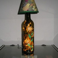 Wine Bottle Light - Handpainted Orange Florals - Lamp Shade included