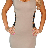 With Lust (Beige)-Great Glam is the web&#x27;s top online shop for trendy clubbin styles, fashionable party dress and bar wear, super hot clubbing clothing, stylish going out shirt, partying clothes, super cute and sexy club fashions, halter and tube tops, bel
