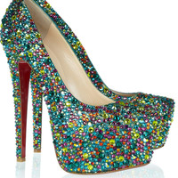 Christian Louboutin | Daffodile 160 crystal-embellished leather pumps | NET-A-PORTER.COM