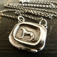 Victorian Wax Seal Horse Necklace. Fine Silver Pendant. Sterling Silver Chain. Equestrian Jewelry